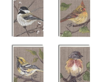 Assorted Bird on Burlap Notecards - Bird Cards - Bird Stationary
