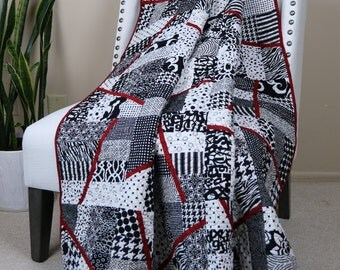 licorice twist black and white throw quilt