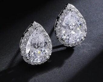 Wedding Jewelry Bridesmaid Jewellery Bridesmaid Earrings Bridal Earrings White gold Plated Cubic Zirconia Tear Drop Halo Stud Earrings Gift