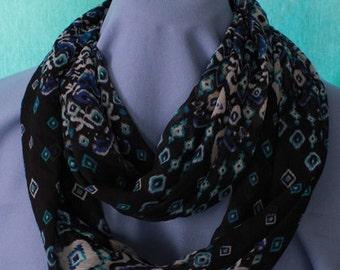 Infinity Scarf, Geometric Print, Black/Teal/White, Chiffon