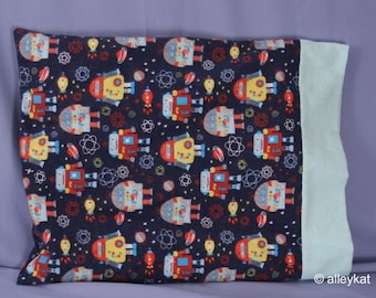 Pillowcase Made with Robot/Space Fabric, Travel/Toddler size, Cotton Flannel