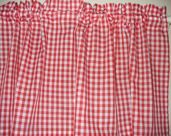 Red White Checked Checks retro diner coke fabric kitchen curtain topper Valance