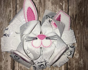 Girls Easter Bunny Bow Face Ears Feet! Super Cute! Easter Hairbow Hair Accessory Clip Barrette Toddler Girl