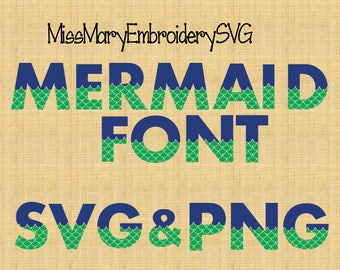 SVG Mermaid Fonts & Numbers for Cutting Machines