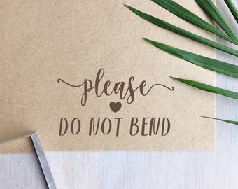 Please Do Not Bend Stamp | Fragile Stamp - Packaging Stamp - Wedding Stationery - Small Business