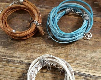 leather wrap bracelet with charms