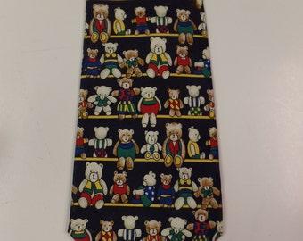 Silk Teddy Bear Designed Necktie
