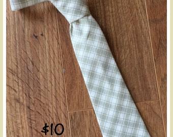 Little Boy Necktie / Handmade Boy Tie / Plaid Tan and Cream