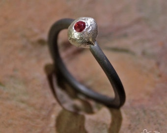 Anodized titanium and sterling silver ring with ruby