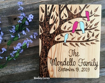 Family tree, Custom wood sign, Family name sign, Family established sign, Rustic home decor, Rustic wood sign, Wood burned sign, Family sign