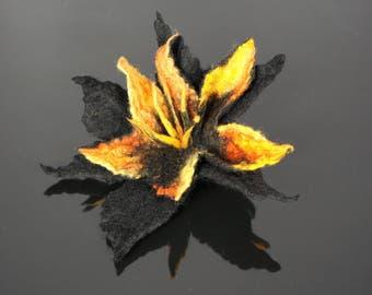 Flower brooch, felted brooch, felted flower,yellow, black Feltmondo