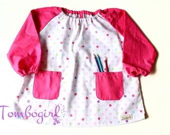 Kids Art smock, Apron, Long sleeve, with pockets, cotton art smock, Australian made - Polka dot pink