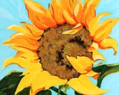 "Ruffled Sunflower Original Botanical Painting Acrylic on Board 4""x4"""