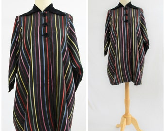 Vintage 40's 50's Rainbow Striped Rayon with Velvet Trim Trapese Swing Evening Coat Jacket DELRO One Size