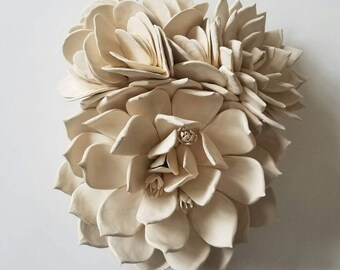 White clay succulent wall piece