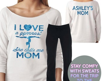 I Love a Gymnast Mom Sweat Set White