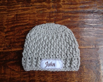 Crochet Personalized Newborn Baby Hat (0-3 months, light gray)