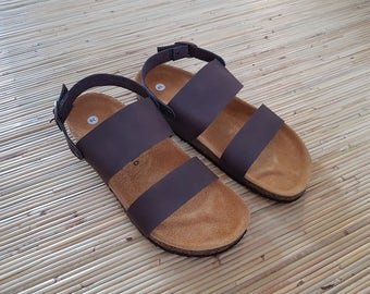 NEW Women's Two Straps with ankle buckle Flip Flop Shoes Sandals GENUINE LEATHER