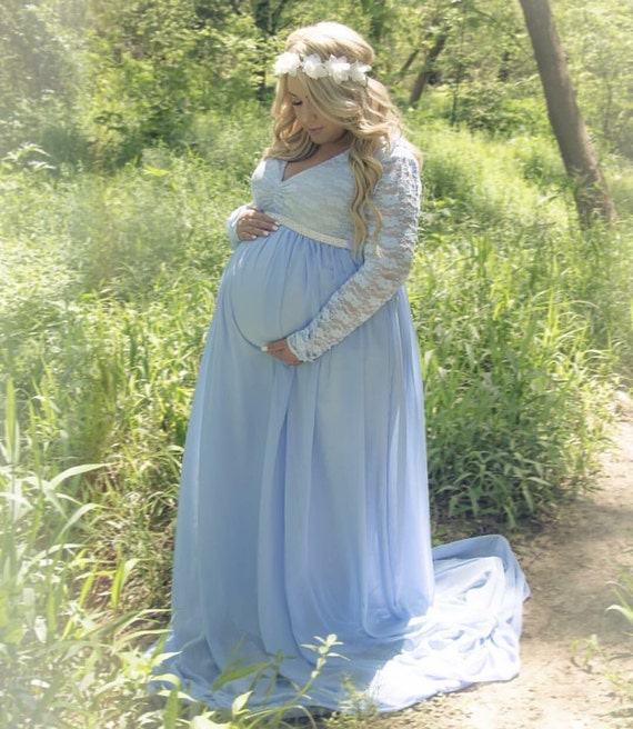Lace Maternity Dresses For Baby Shower: Light Blue Lace Chiffon Lining Long Sleeves Maternity Gown