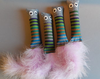 Handmade Little Buddy Kicker Cat Toys with Catnip / Purple Stripe with Denim and Purple Feather