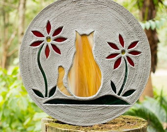 Orange Tabby Kitty Cat Stepping Stone Made of Concrete and Stained Glass Big 1 1/2 Foot Diameter Perfect for Your Garden or Pet Memorial #24