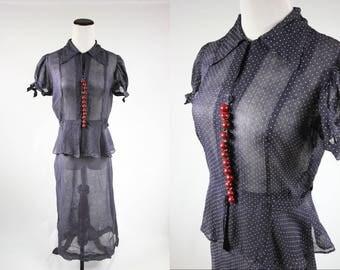 1940's Navy w/ White Polka-dots Blouse & Skirt Set