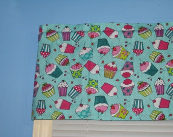 Red Pink Purple Yellow Blue CUPCAKES On TURQUOISE 100% COTTON Window Curtain  Valance