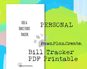 Bill Tracker Personal Size Travelers Notebook Insert PRINTABLE