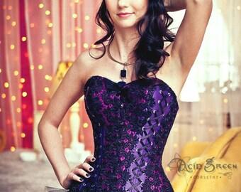 Corset, corsetry, overbust corset, lace corset, purple corset, cotton corset