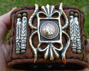 Cuff Buffalo Bison leather customize to wrist size Bracelet Ketoh  Indian Head penny coins full liberty wristband handcrafted signed bones