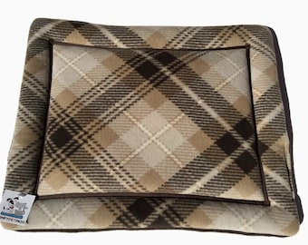 Brown Plaid Dog Bed, Cat Table Pad, Small Pet Bedding, Crate Liner, Pet Travel Items, Lap Pad, Kennel Cover, Puppy Bed, Cat Cushion