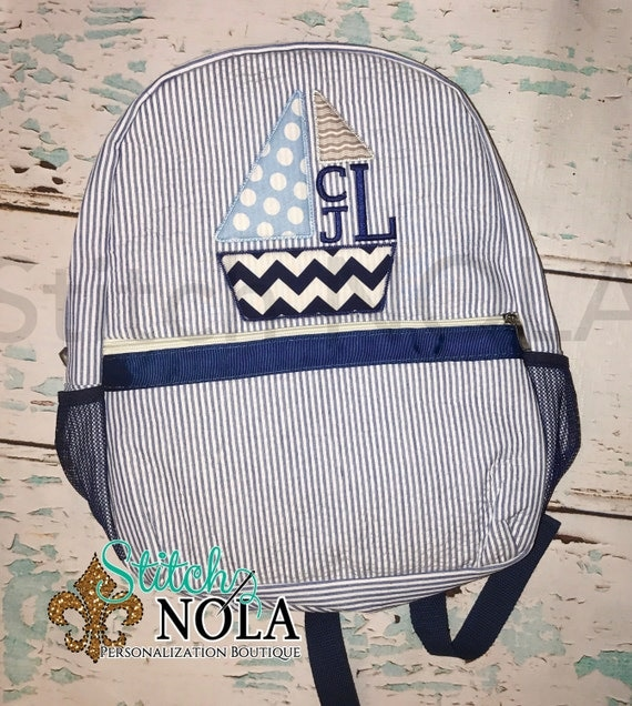Seersucker Backpack with Sailboat Monogram, Seersucker Diaper Bag, Seersucker School Bag, Seersucker Bag, Diaper Bag, School Bag, Book Bag,