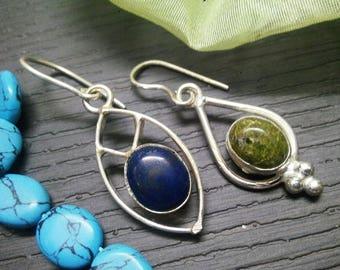 Combo of 2 earring Pair 925 sterling Silver Plated Stylish Beautiful  Partywear dangle earring, gemstone Earring