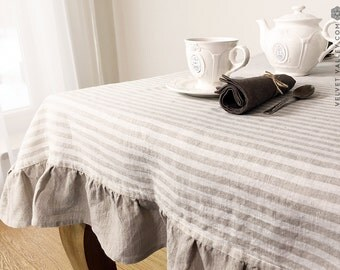 Natural striped  linen tablecloth- Vintage style tablecloth with ruffles-Made by Velvet Valley  light tablecloth