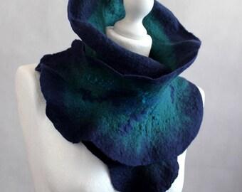 Felted scarf neckwarmer ruffle emerald green blue navy scarflette merino wool, silk fibers, neck pieces
