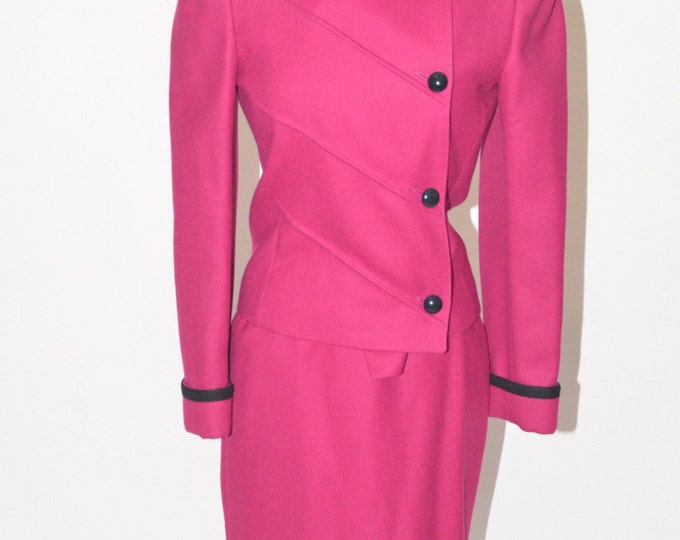 Vintage Estate Louis Feraud Garfinckel's Wool Pink Black Skirt Suit