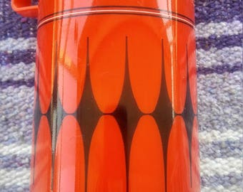 Vintage 1970's Aladdin Thermous Red and Black Harlequine Insulated