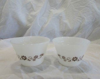 Berry Cups, Dynaware, White Glass, Brown Flower Design, Set of Two, Vinatge, 1970's, Mexico