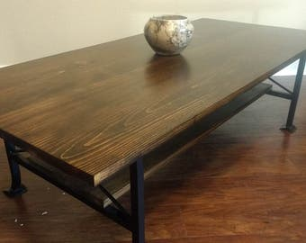 Stained Pine Wood Coffee Table
