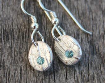 blue gemstone pebble earrings, blue zircon earrings, silver zircon earrings, december birthstone earrings, earrings silver, earrings drop