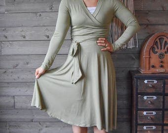 Light Olive Wrap Dress