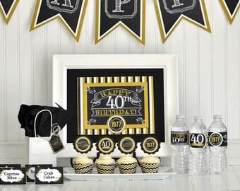 40th Birthday Party Package, 40th Birthday Decorations, 40th Birthday Party Favors, Surprise Birthday Party, Milestone Birthday Party