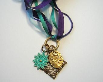 Silk Ribbon Charm Necklace ~ purple, blue, gold, flower, Moroccan filigree charm