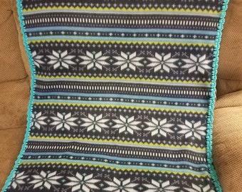 blue nordic print fleece baby blanket inspired fleece baby blanket blue snowflake holiday