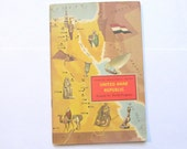 Vintage United Arab Republic (Egypt) Around the World Program book. 1960s completed children's geography book for collecting or craft. OT515