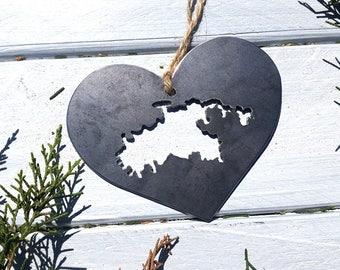 St John Steel Heart Ornament Rustic Metal Decoration Virgin Islands TravelVacation Keepsake Wedding Honeymoon Favor