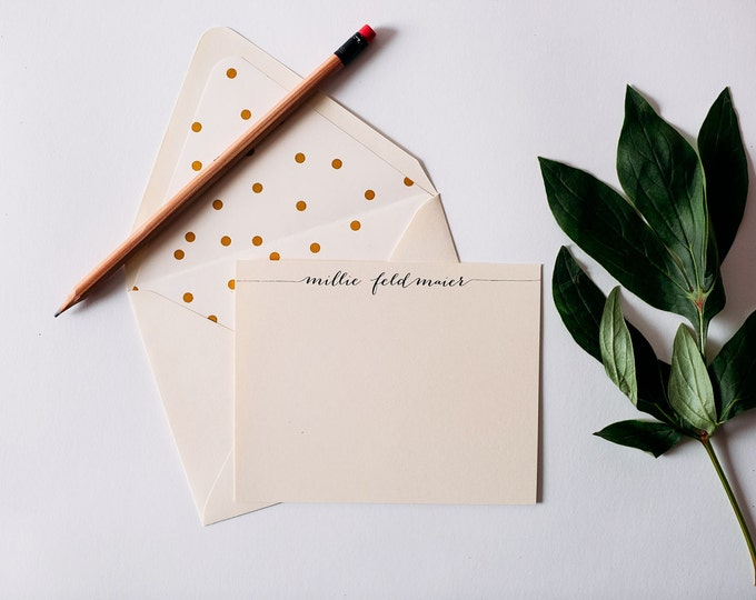 personalized stationery set - flat note cards & lined envelopes (sets of 10) // thank you cards // lola louie paperie