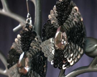 Earrings drop-shaped  beads sequins