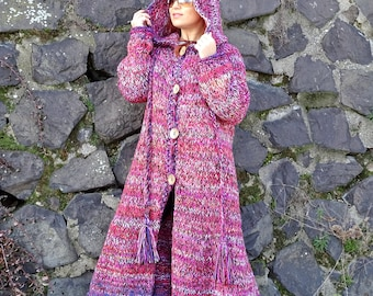 hooded cardigan, long cardigan, knit cardigan, knit long cardigan, hooded coat, knit coat, knit long coat, bulky, bohemain, ready to ship