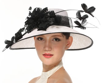 Church Kentucky Derby Carriage Tea Party Wedding Wide Brim Woman's Royal Ascot Hat in Solid Sinamay Hat White With Black